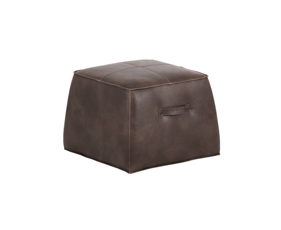 Dark brown ottoman in faux leather