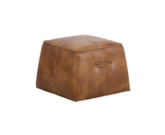 Tan faux leather ottoman in a cubed shaped
