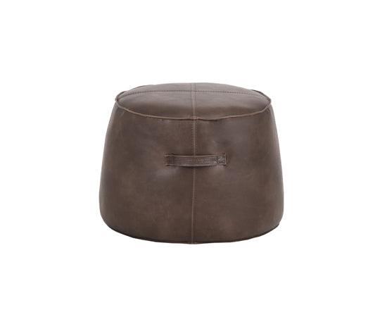 Dark brown ottoman in faux leather - round