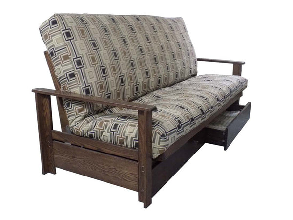 Sherbrooke Oak Futon Frame with drawers
