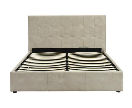Beige storage bed in upholstered faux nubuck slat system