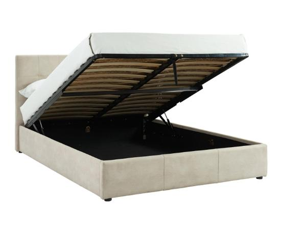 Beige storage bed in upholstered faux nubuck with storage compartment open