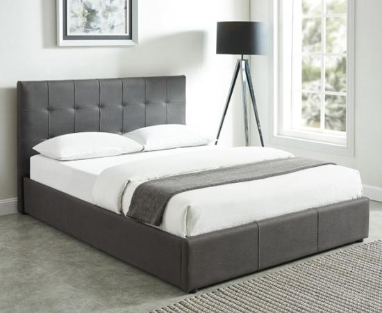 Grey storage bed in upholstered faux nubuck