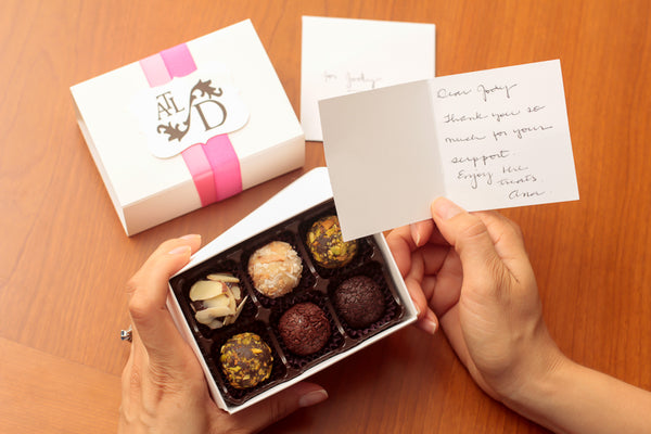 gourmet, hand-crafted referral gift services from tinyB chocolate