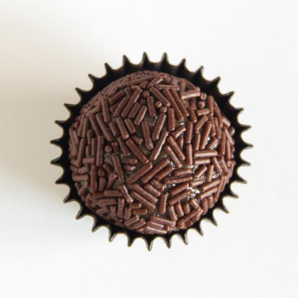 Brigadeiros with chocolate vermicelli sprinkles