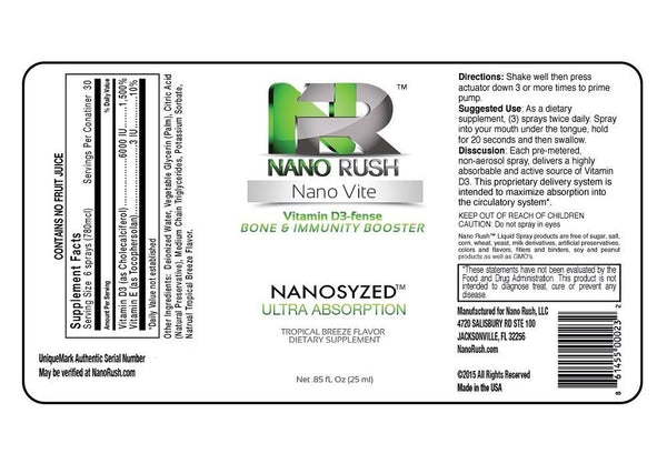Nano Rush Nano Vite Vitamin D3-fense Bone and Immunity Booster