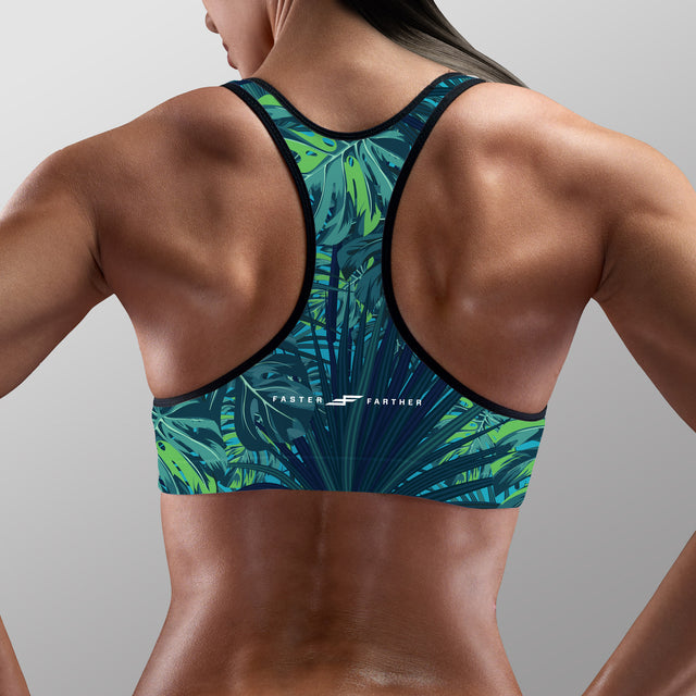 Women's BBOP Padded Sports Bra, Aqua Flora