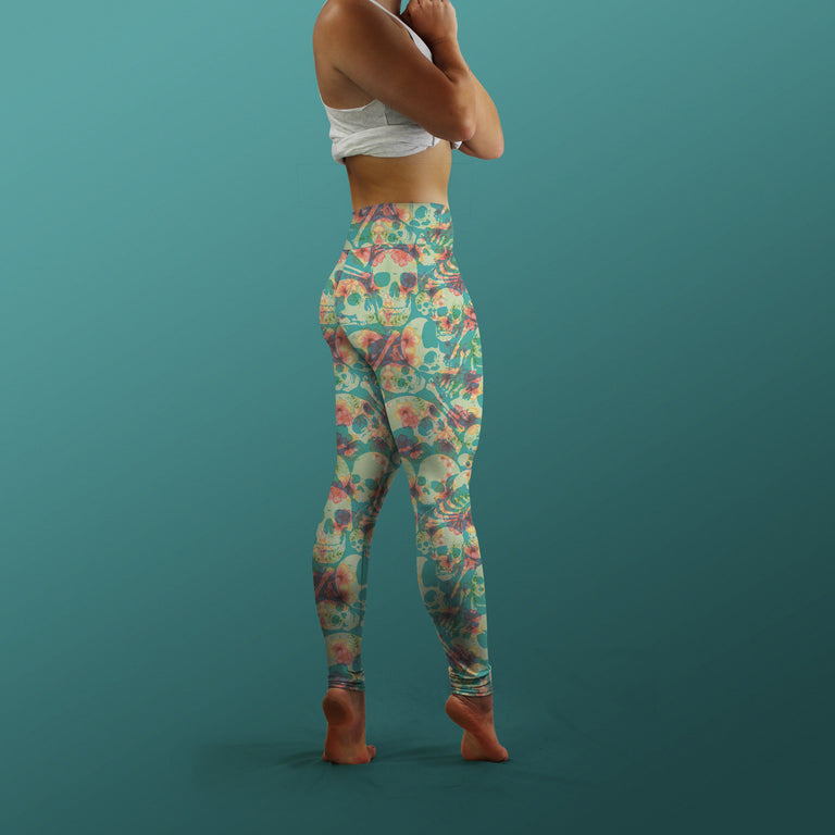Bone Collector Yoga Leggings, Hibiscus