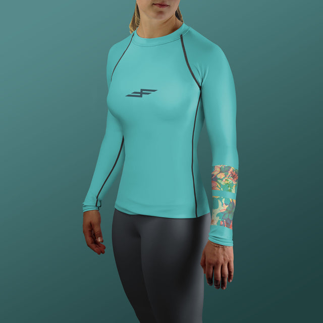Women's Hibiscus Bone Collector Rash Guard