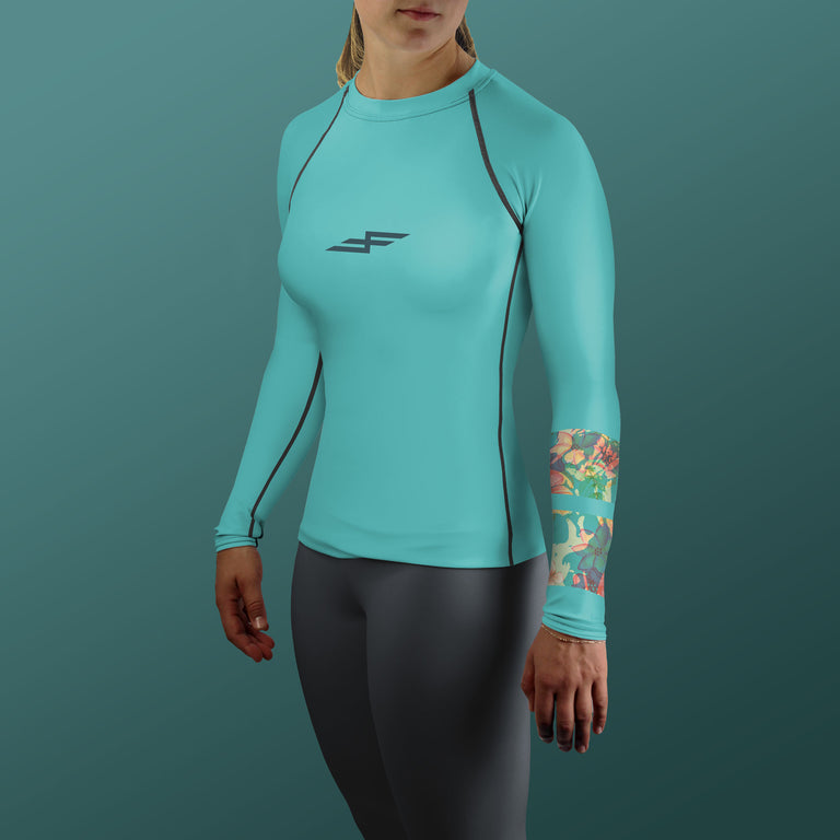 Women's Hibiscus Bone Collector Compression Fit Paddling Top