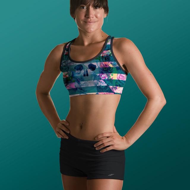 Women's Bone Collector Padded Sports Bra, Aqua