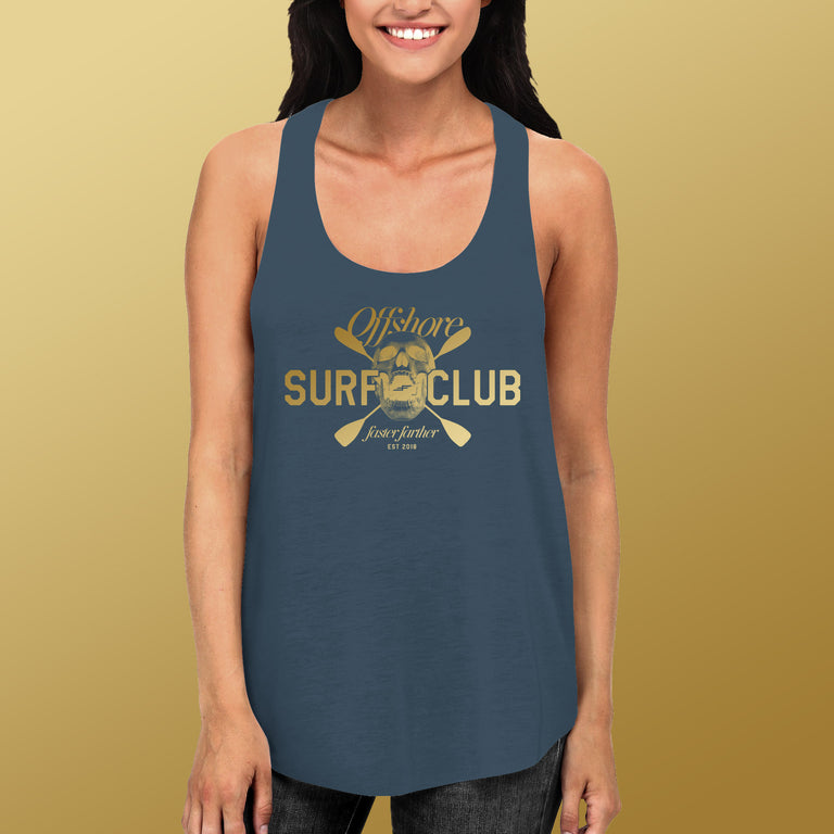 Women's Offshore Surf Club Racerback Tank, Indigo