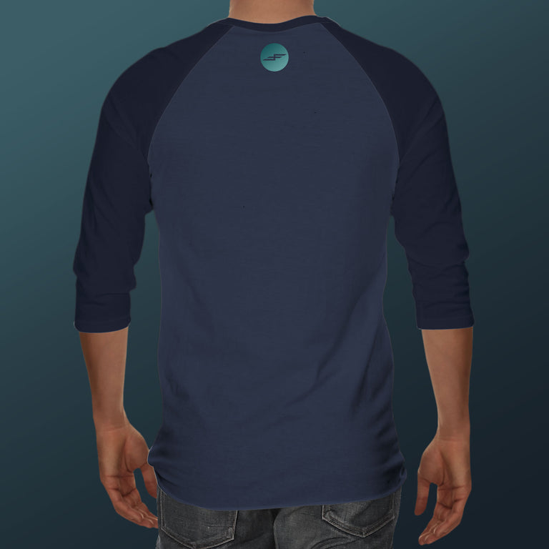 Men's Wave Hunter, Denim+Navy 3/4 Sleeve Shirt