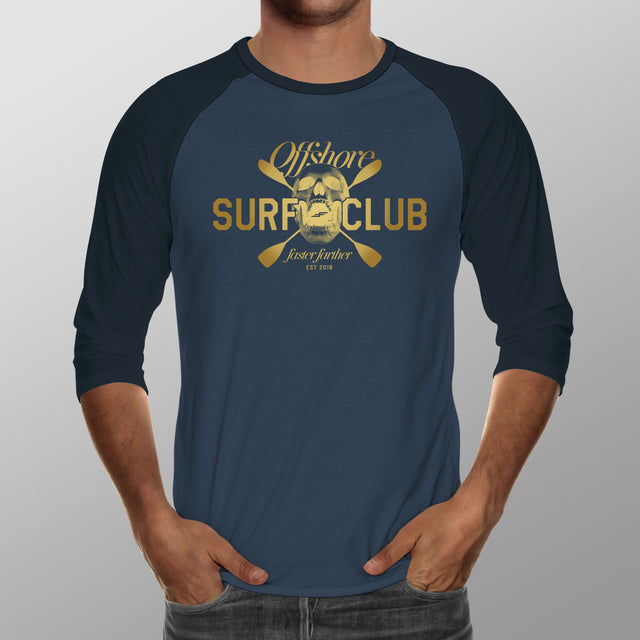 Men's Offshore Surf Club, Navy+Denim 3/4 sleeve shirt