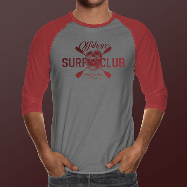 Men's Offshore Surf Club, Red+Gray 3/4 sleeve shirt