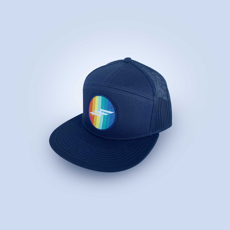 Rainbow Bolt Five Panel Flat Brim Hat