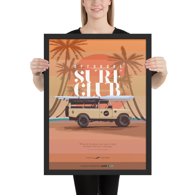 "Faster Farther ""Off Shore Surf Club"" Rover Poster"