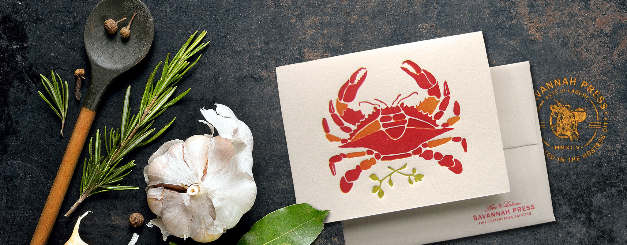 Blue Crab Letterpress Card