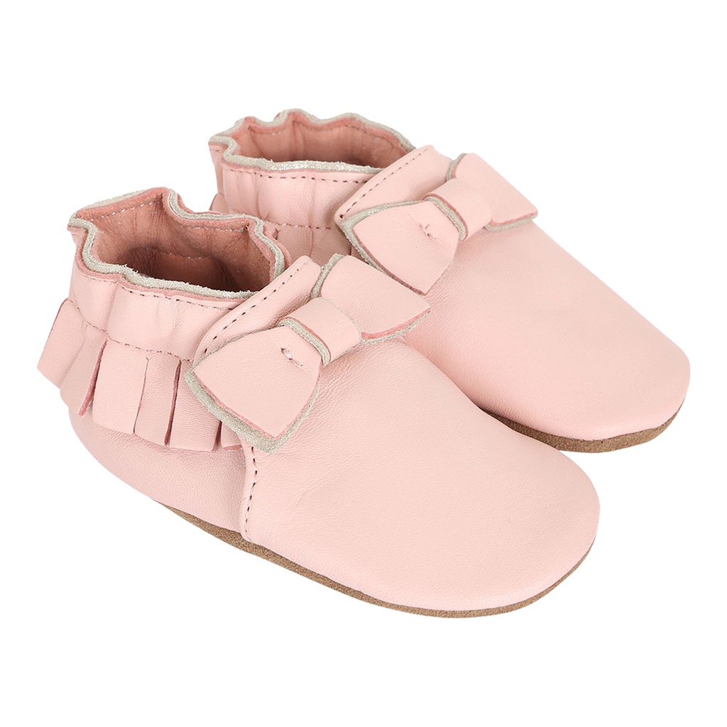 Robeez Premium Leather Maggie Moccasin Pink Soft Soles Shoes