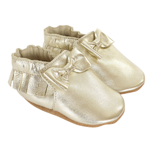 Robeez Premium Leather Maggie Moccasin Gold Soft Soles Shoes