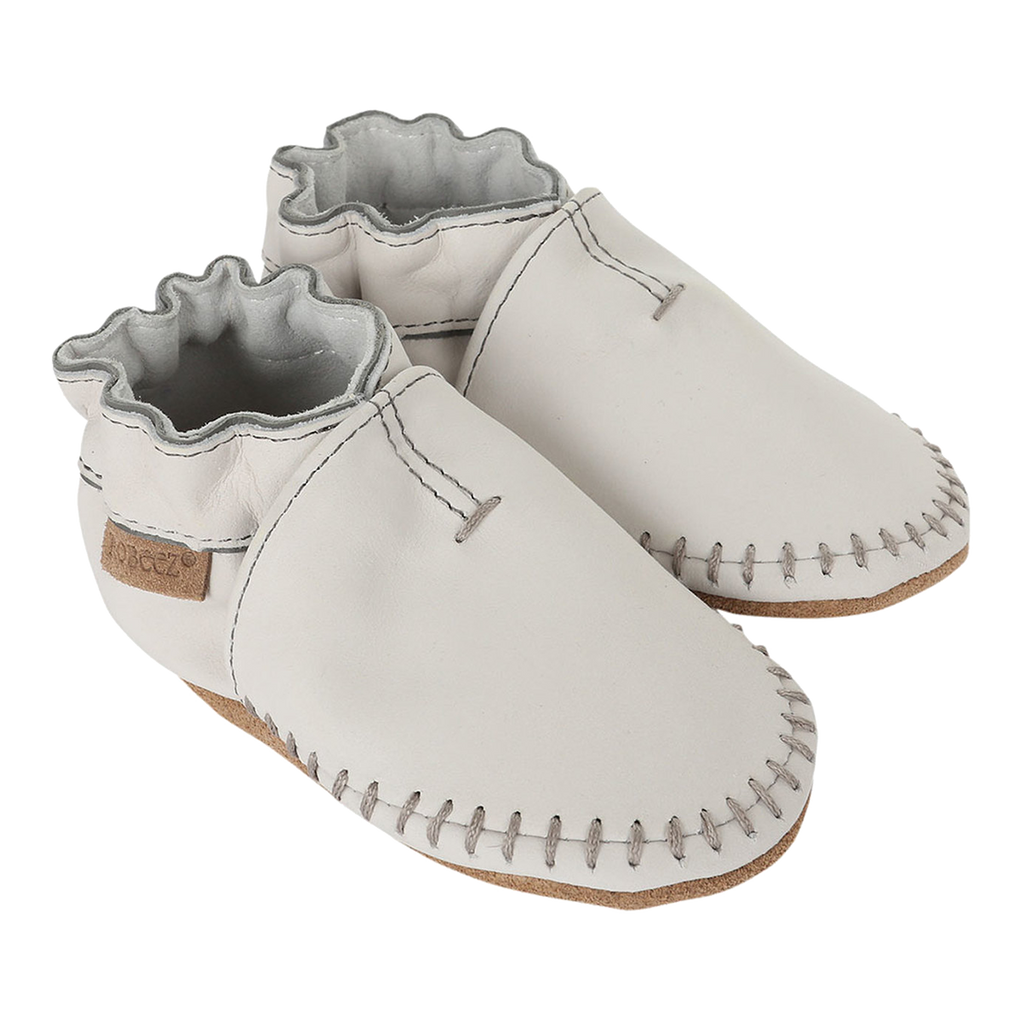 Robeez Premium Leather Moccasins Grey Soft Soles Shoes