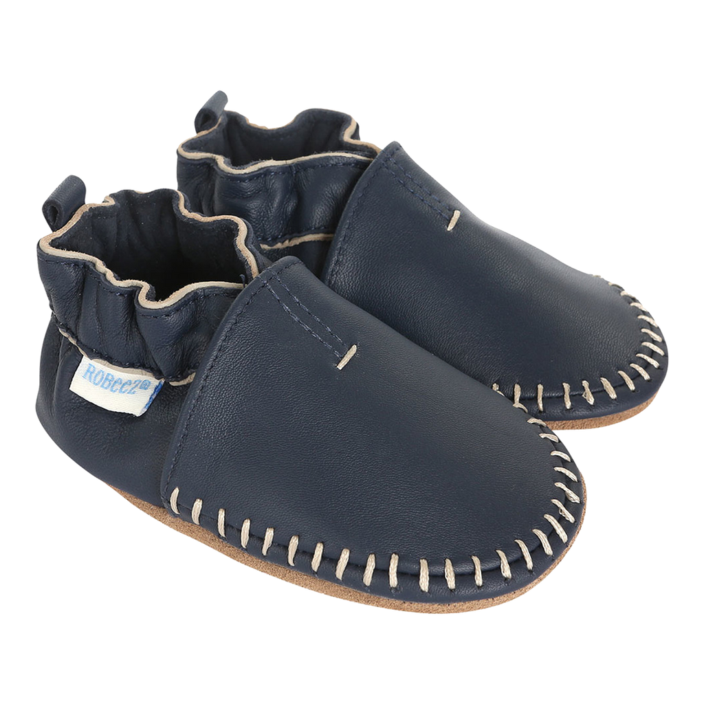 Robeez Premium Leather Moccasins Navy Soft Soles Shoes