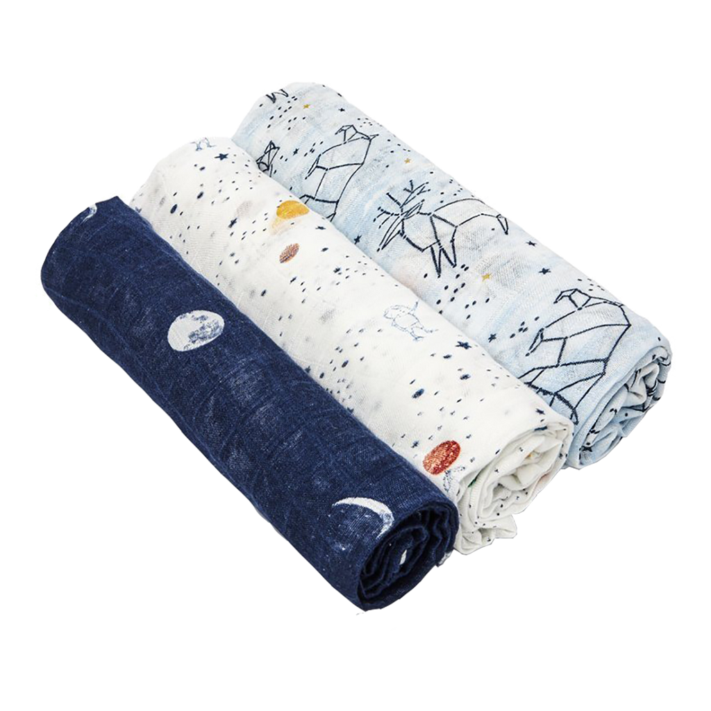 Aden + Anais White Label Swaddles (3 Pack) - Stargaze