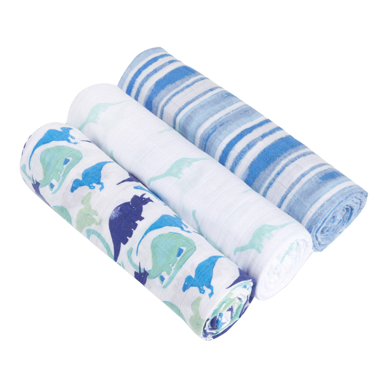 Aden + Anais White Label Swaddles (3 Pack) - Jurassic