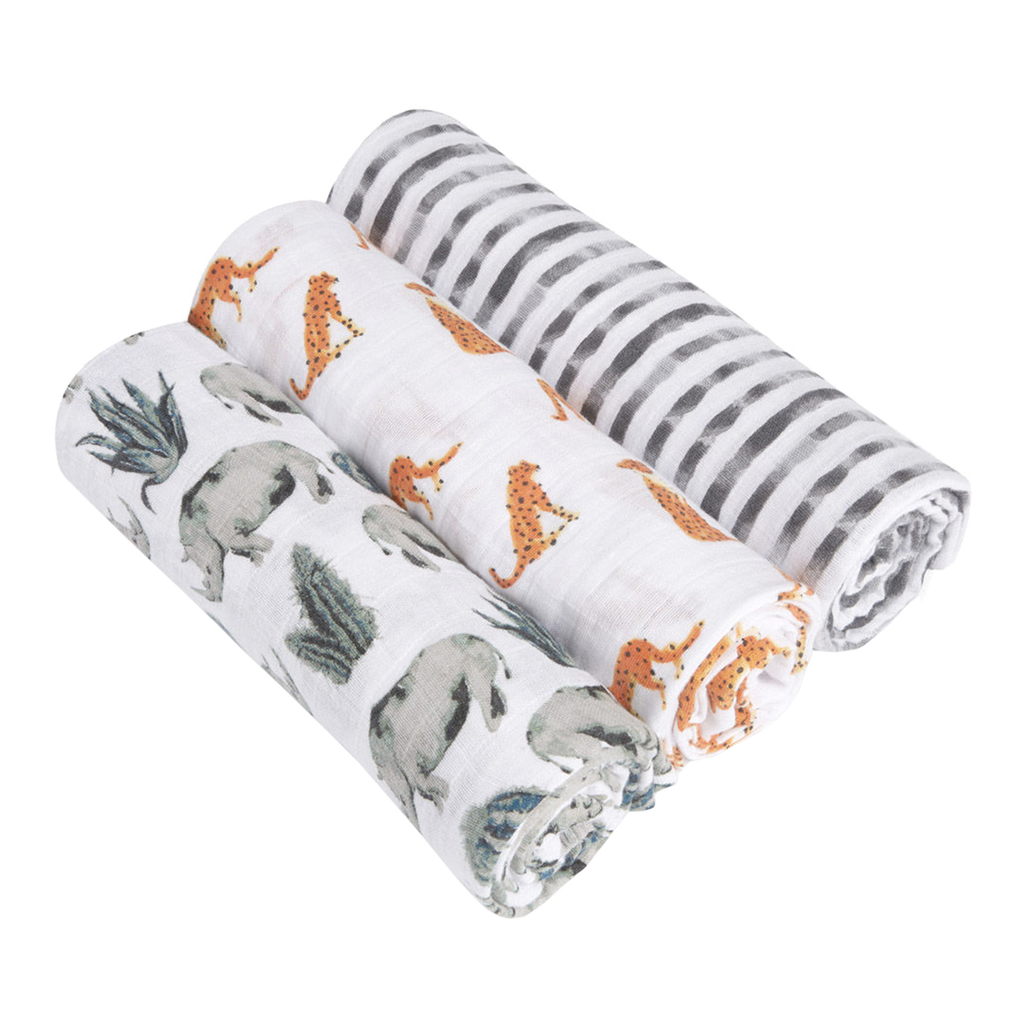 Aden + Anais White Label Swaddles (3 Pack) - Serengeti