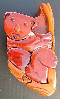 Hand carved Puzzle wooden box Koala Bear