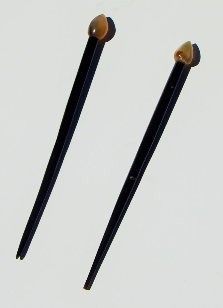 Set of 2 Hair Sticks Buffalo Horn