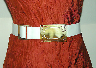 WHITE LEATHER BELT & HANDMADE HORN BELT BUCKLES