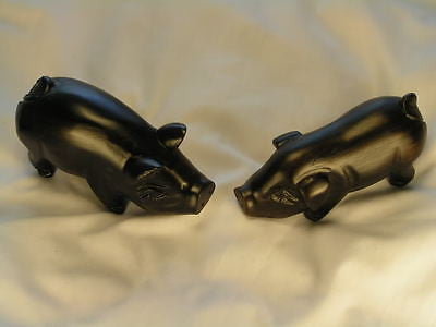 A Couple of Baby Pig Handcarved wood sculpture
