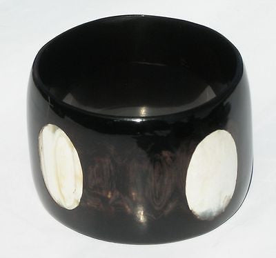 INLAY BLACK BUFFALO HORN BRACELET