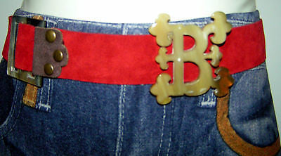 RED LEATHER BELT & HANDMADE HORN BELT BUCKLES