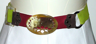 GREEN LEATHER BELT & HANDMADE HORN BELT BUCKLES