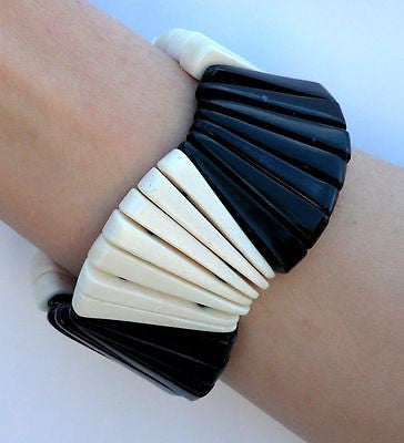 Buffalo Horn  Bone Stretch Bracelet