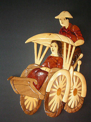 Wooden Art Sign Wall Plaque Driving Tricycle