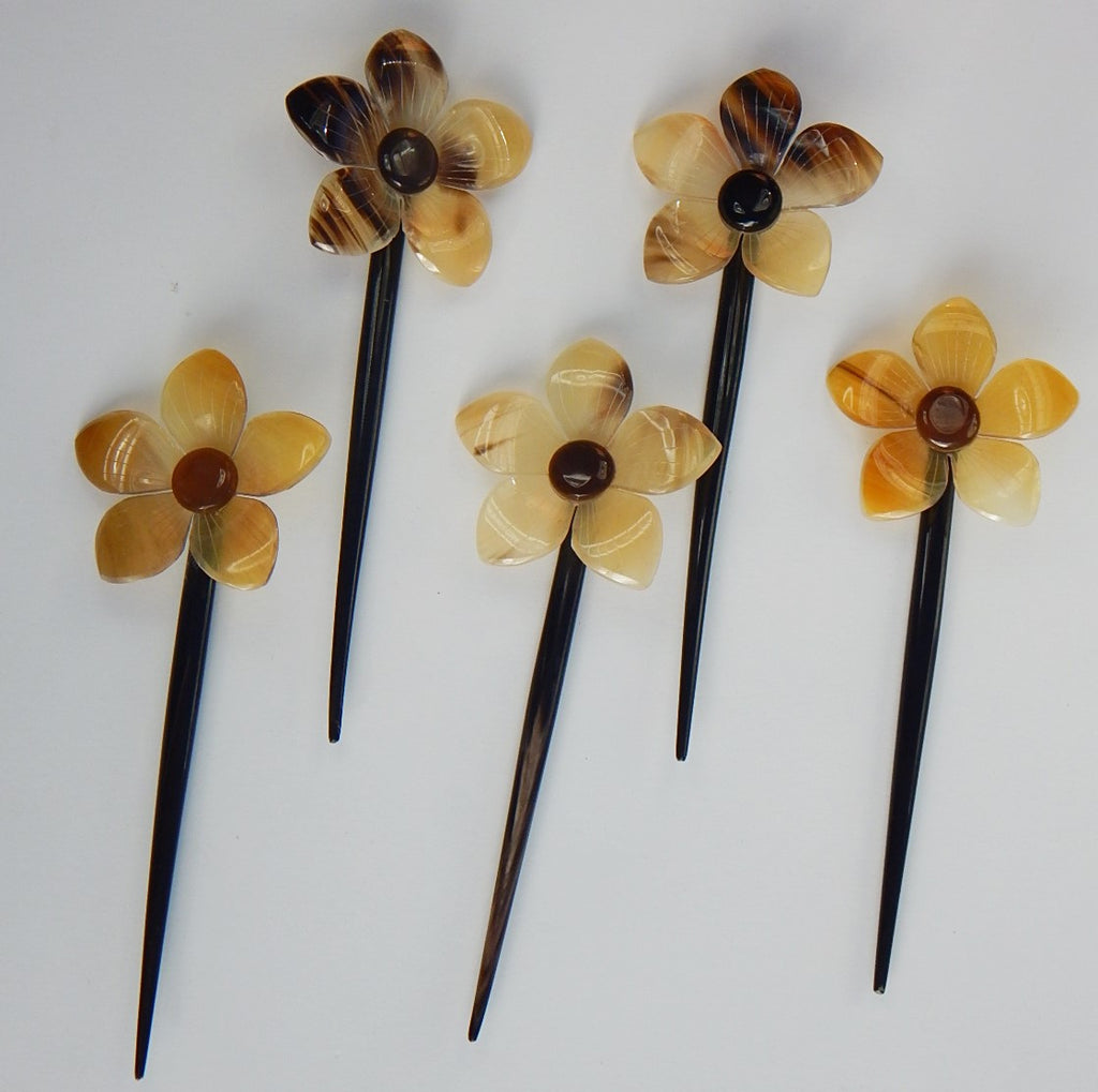 Set of 5 Buffalo Horn  Hair Sticks