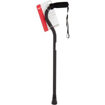 Equate Aluminum Mobility Offset Handle Cane With Foam Handles, Adjustable Height, Black