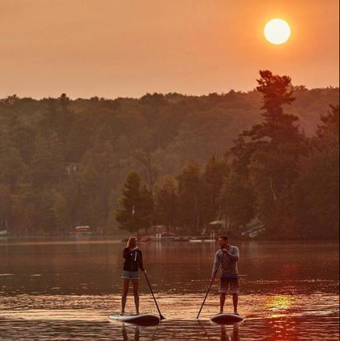 paddle boarding in a lake