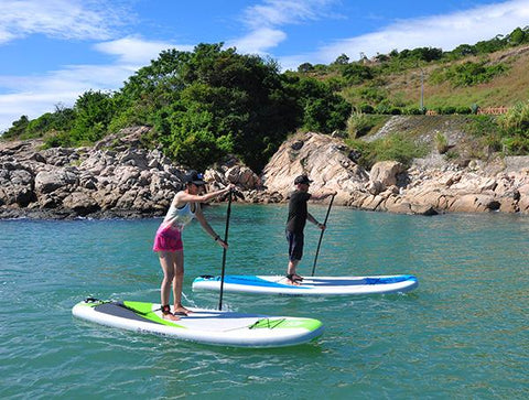 stand up paddle boarding on an inflatable SUP