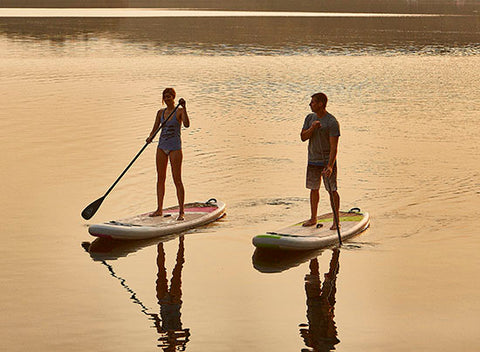 Stand up  paddle boarding on inflatable paddle boards