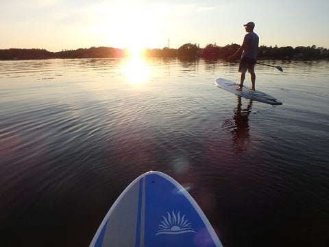 Paddle boarding in very calm waters