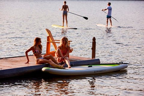 Paddle boarding on a lake