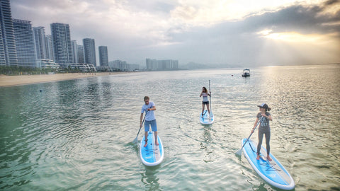 Stand up paddle boarding in calm conditions
