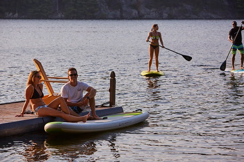 A Family on inflatable paddle boards