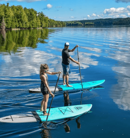 paddle boards on a lake