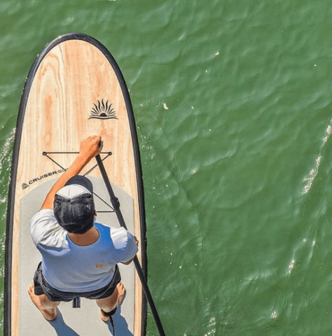 stand up paddle boarder on a rigid paddle board in calm water