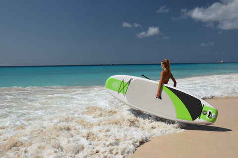 Riding and Inflatable Paddle Board